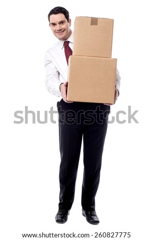 Full length of corporate man with a cardboard boxes