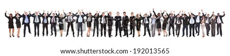 Full length of excited businesspeople celebrating success against white background - stock photo