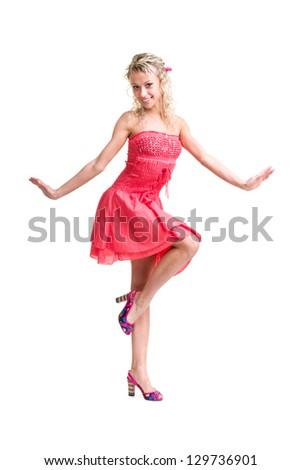 Full length of  friendly smiling girl posing against isolated white background - stock photo