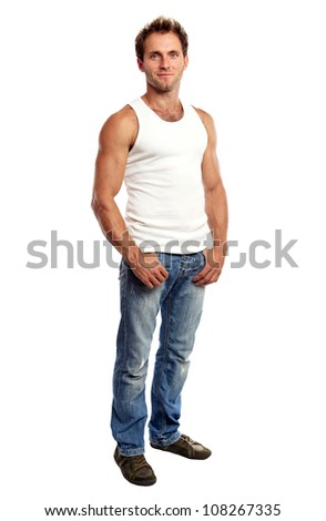 Full-length of handsome young man standing on white background - stock photo