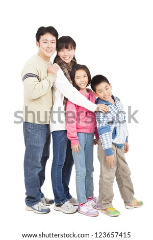 full length of happy asian family - stock photo