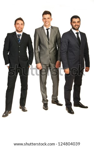 Full length of happy business men team isolated on white background