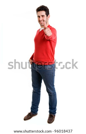Full length of happy man giving you thumbs up on white background - stock photo