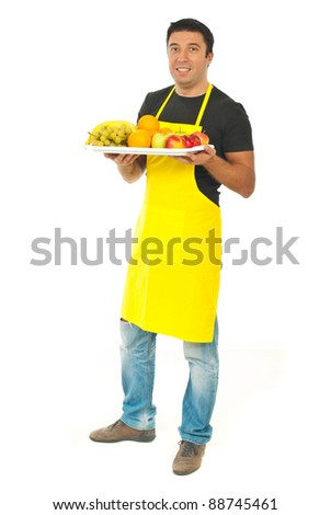 Full length of market worker with fruits isolated on white background - stock photo