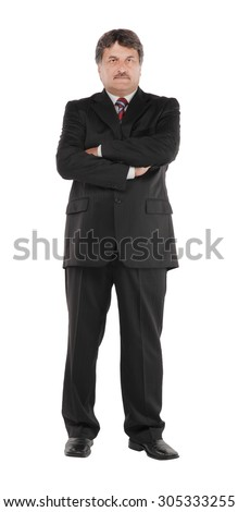 Full length of mature business man standing isolated on white background - stock photo