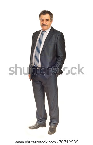 Full length of mature business man  standing with hand in pocket suit isolated on white background - stock photo