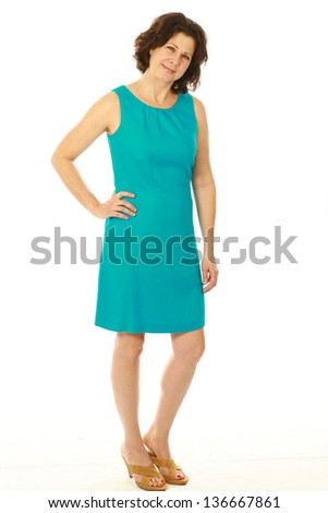 full length of middle age woman isolated on white