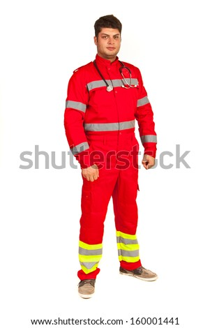 Full length of paramedic man isolated on white background