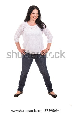 Full length of posing casual woman isolated on white background