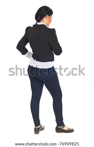 Full length of sad business woman thinking isolated on white background - stock photo