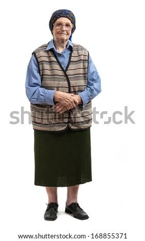 Full length of senior woman over white background  - stock photo