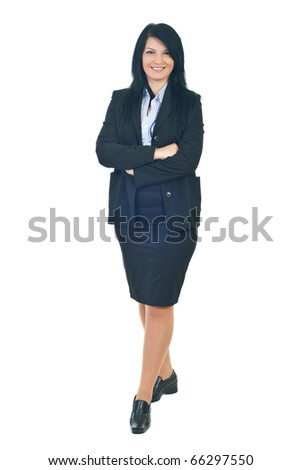 Full length of smiling business woman standing with hands crossed isolated on white background