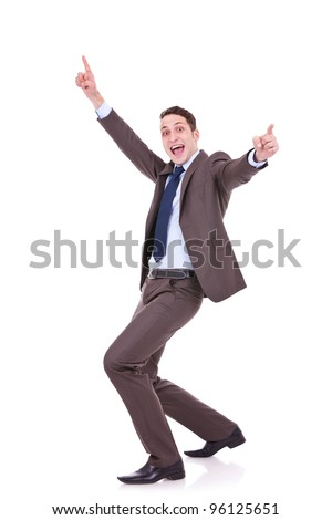 Full length of successful business man gesturing success with his hands in the air on white background - stock photo