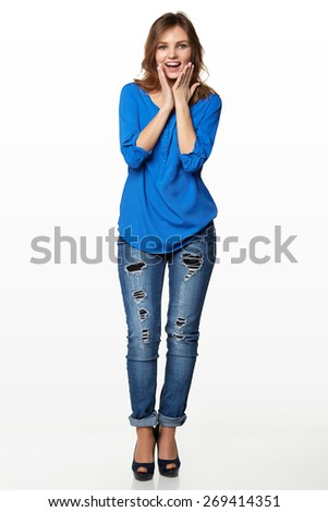 Full length of surprised young stylish slim female holding her head in amazement and open-mouthed, on white background - stock photo