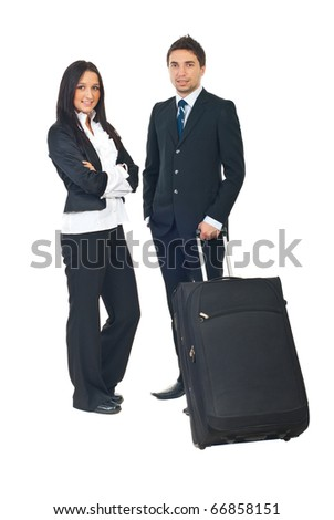 Full length of two business people prepare to go in a business travel isolated on white background - stock photo