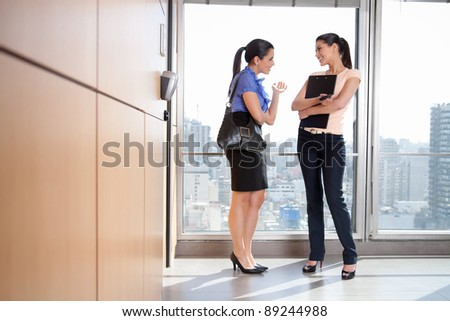 Full length of two female executives talking to each other in office - stock photo