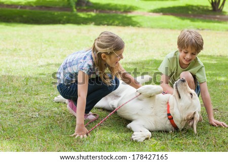 Full length of two kids playing with pet dog at the park - stock photo
