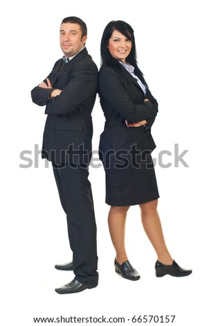 Full length of two mid adults executive people standing back to back and smiling isolated on white background