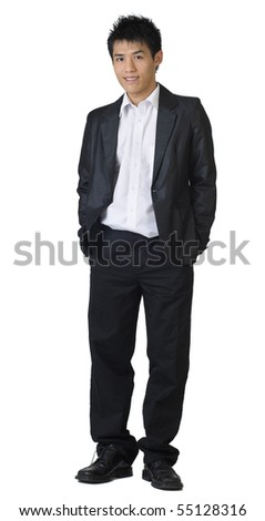 Full length of young Asian business man stand on white background. - stock photo