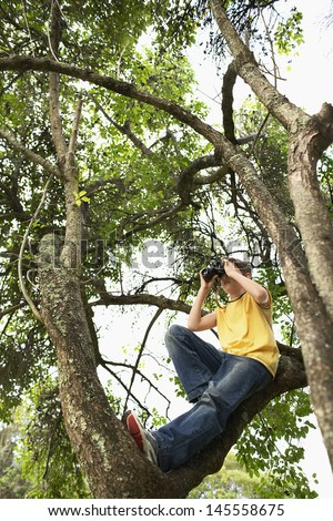 Full length of young boy on tree branch looking through binoculars - stock photo