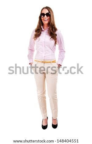 Full length of young business woman - stock photo