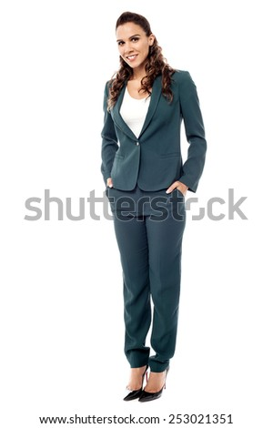 Full length of young confident business woman - stock photo