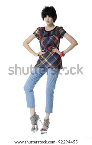 Full length of young woman in spring fashionable posing