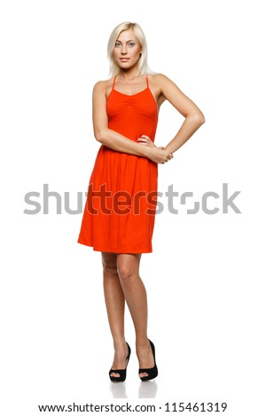 Full length of young woman standing with her hand on hip against white background - stock photo