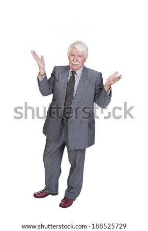 full length old man with open hands looking at the camera smiling - stock photo