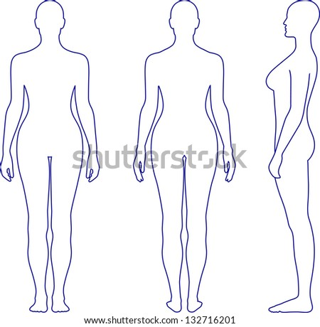 Full length outline front, back, side view of a standing naked woman. You can use this image for fashion design and etc. - stock photo