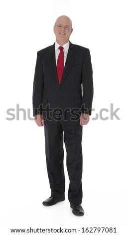 Full length photo of mature businessman standing on white background. - stock photo