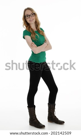 Full length photo of teenage girl standing on white background. - stock photo