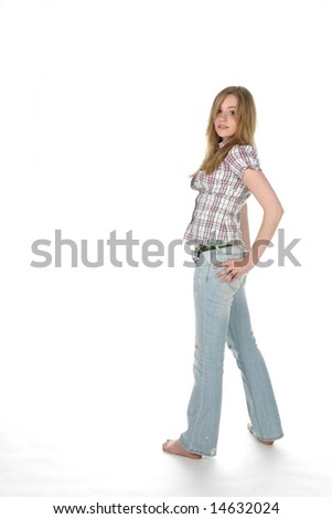 full length picture of teen standing with her hand on hip - stock photo
