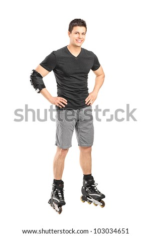Full length portrait a male on rollers posing isolated on white background - stock photo