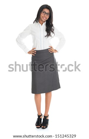 Full length portrait beautiful African American business woman smiling isolated over white background. Mixed race Asian Indian and African American model. - stock photo