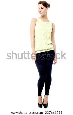 Full length portrait of a attractive woman - stock photo
