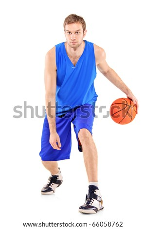 Full length portrait of a basketball player with basketball isolated on white background - stock photo