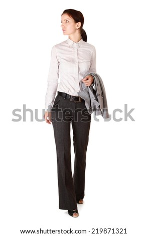 Full length portrait of a beautiful businesswoman standing - stock photo
