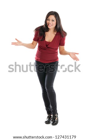 Full length portrait of a beautiful Hispanic woman gesturing with uncertainty isolated on a white background - stock photo