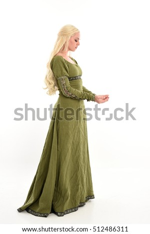 full length portrait of a beautiful lady with long blonde hair wearing a green medieval fantasy gown. standing pose, isolated on white background.