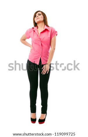 Full length portrait of a beautiful woman posing in studio - stock photo