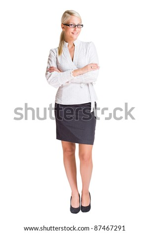 Full length portrait of a beautiful young business woman isolated on white. - stock photo