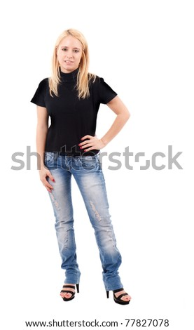 Full length portrait of a beautiful young girl - stock photo