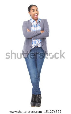 Full length portrait of a beautiful young woman with happy smiling expression isolated on white - stock photo