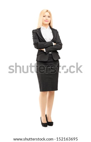 Full length portrait of a blond businesswoman looking at camera isolated against white background - stock photo