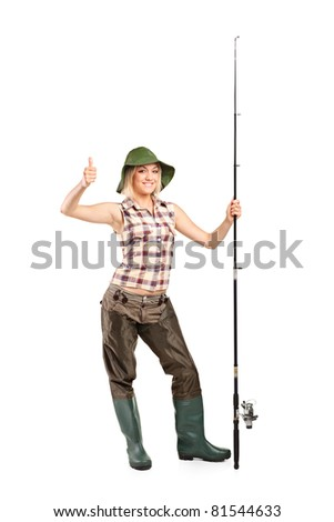 Full length portrait of a blond fisherwoman with thumb up isolated on white background - stock photo