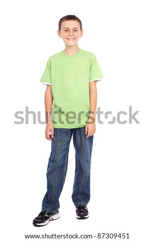 Full length portrait of a boy in green t-shirt isolated on white background