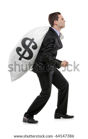 Full length portrait of a businessman carrying a money bag with US dollar sign isolated on white background - stock photo