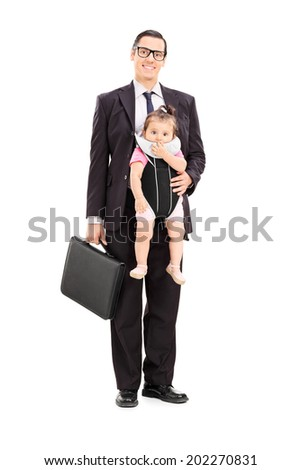 Full length portrait of a businessman carrying his baby daughter isolated on white background - stock photo