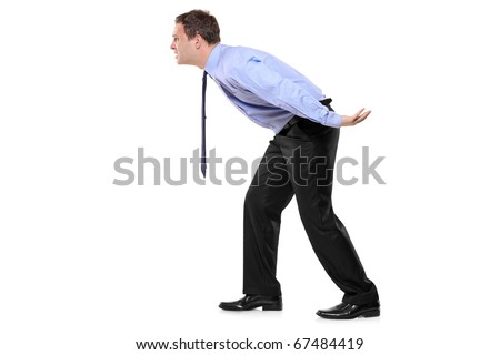 Full length portrait of a businessman carrying something imaginary isolated against white background - good for montage - stock photo